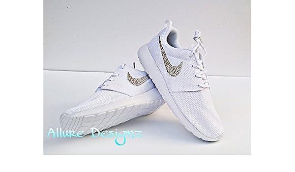 the best attitude 0b656 60ba1 Amazon.com: Bling Nike women's Roshes, White roshes women ...