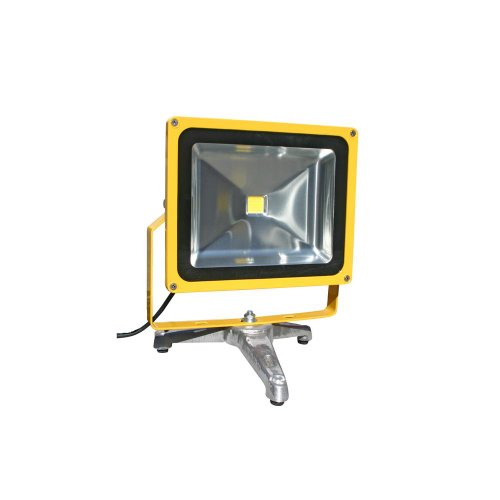 Lind Equipment LE970LED-FS-R Super Bright LED Portable Floodlight with Ruggedized Option, 50 Watts, Weatherproof, Thicker Yoke, Stronger Strain Relief, 15' 16/3 SOOW Cable, Shatterguard Film on Lens, Cast Aluminum Floor - 3 Net Cast 16