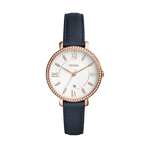 Fossil Women's Jacqueline Stainless Steel Quartz Watch with Leather Calfskin...