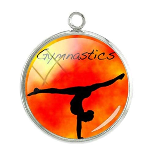 Pendants -1Pc Artistic Gymnastics Pendants Charms 20mm Rhythmic Gymnasts Silhouette Picture Glass Dome Jewelry Accessories - GY218