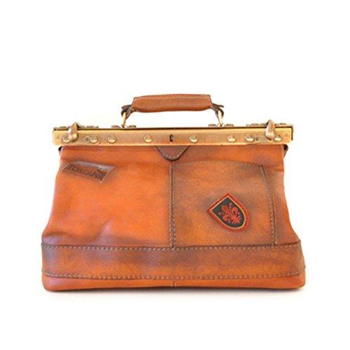 Pratesi Italian Aged Leather Gladstone Handbag (tan)