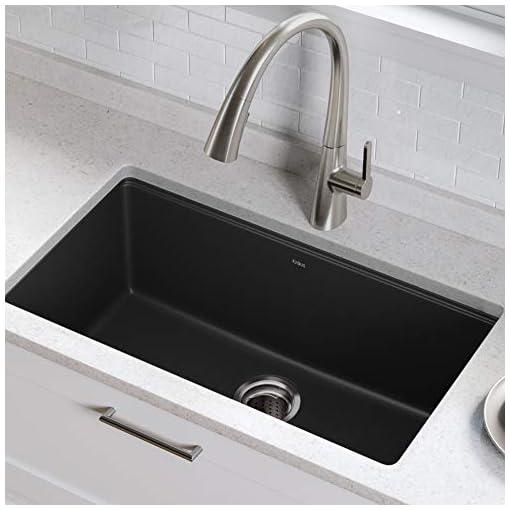 Kitchen Kraus KGU-413B Undermount Single Bowl Granite Kitchen Sink, 31 Inch, Black modern kitchen sinks