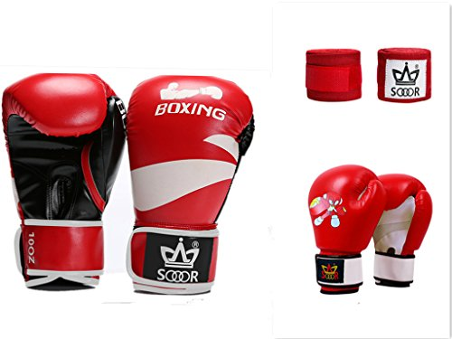 "Shanren Sports Bundle-3 items:Boxing Glove 10oz for MMA, Muay Thai,Karate, Boxing, Kickboxing,Kids Cartoon Boxing Glove 1 Pair and 3.9cm/153.5"" Hand Wraps 1 Pair (red)"