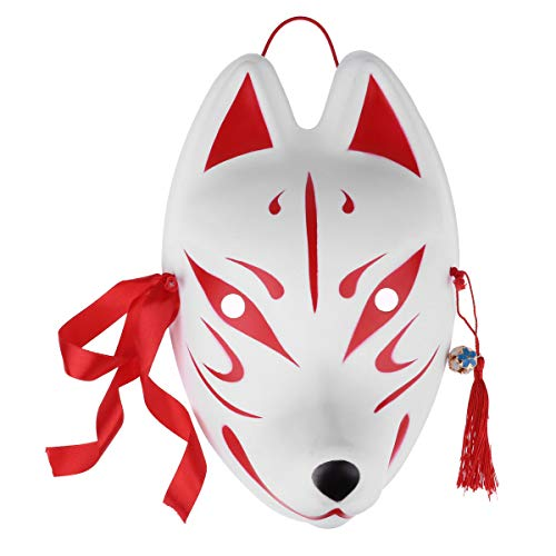 (CHICTRY Rabbit/Fox Mask Japanese Style Hand Painted Kabuki Kitsune Mask with Tassels and Small Bells for Masquerade Ball Festival Party Cosplay Costume Type C Full Face Fox)