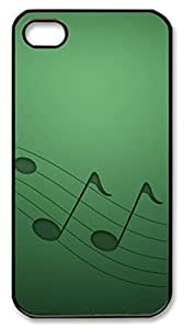 Green Music Notes Polycarbonate Hard Case Cover for iPhone 4/4S Black hjbrhga1544