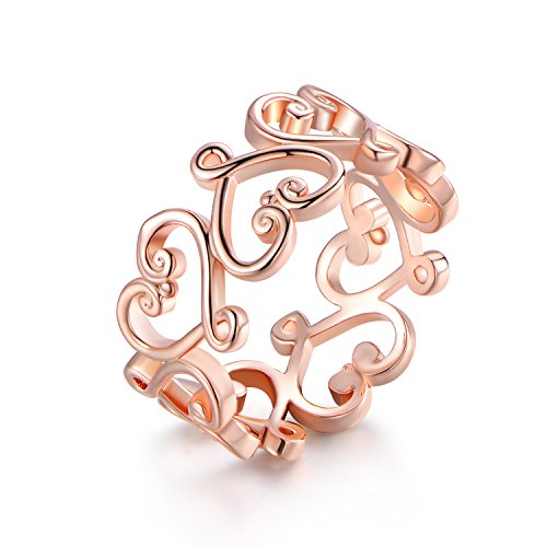 Barzel Rose Gold, White Gold or Gold Plated Filigree Heart Ring (Rose Gold, 7)