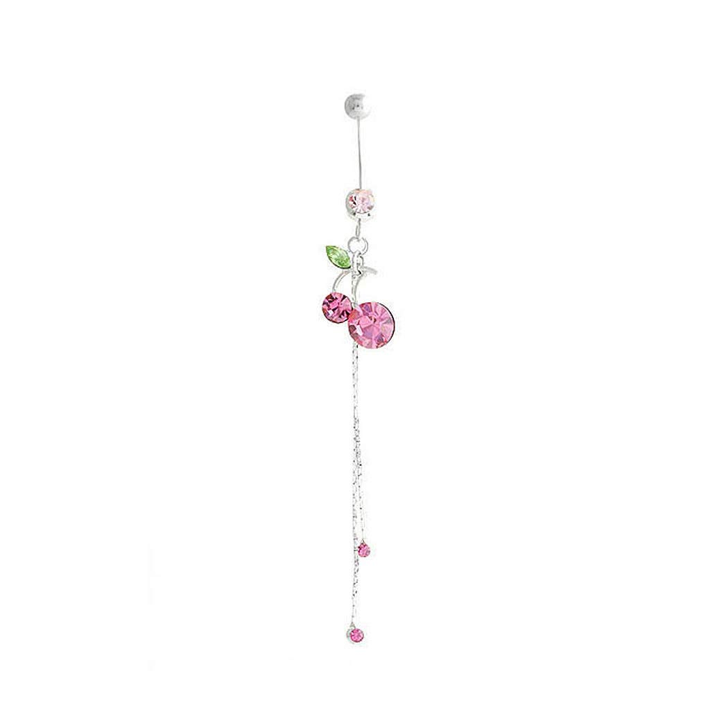 1975 Glamorousky Cherry Belly Ring with Pink Austrian Element Crystals