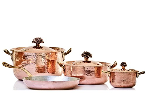 Amoretti Brothers Hammered Copper Cookware, 7 Piece Set - Bronze Handles