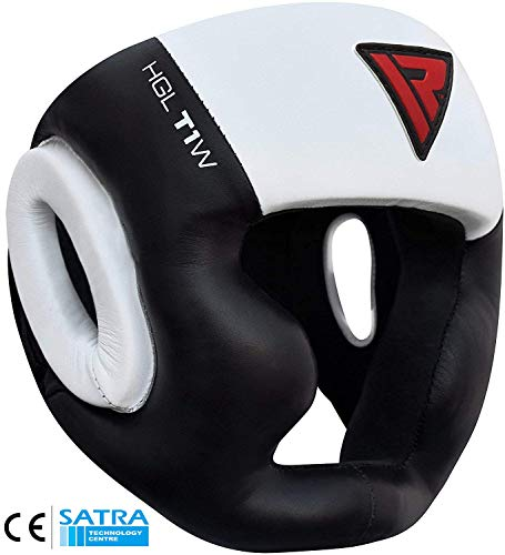 RDX Cow Hide Leather Boxing MMA Headgear UFC Head Guard Sparring Helmet Protector Fighting (CE Certified Approved by SATRA),White,Large