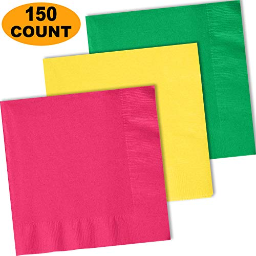 150 Lunch Napkins, Electric Pink, Lemon Yellow, Emerald Green - 50 Each Color. 2 Ply Paper Dinner Napkins. 6.5