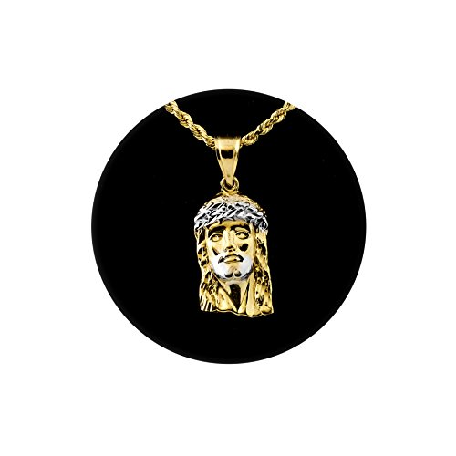 LOVEBLING 10K Yellow Gold Two-Tone Jesus Head Pendant Charm (1.00