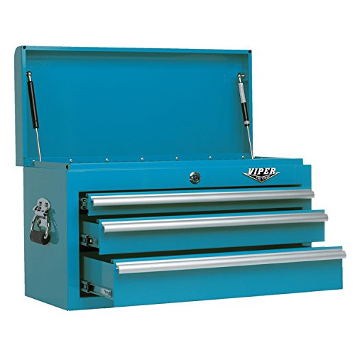 Viper Tool Storage V2603TLC 26 Inch 3 Drawer 18G Steel Top Chest, Teal