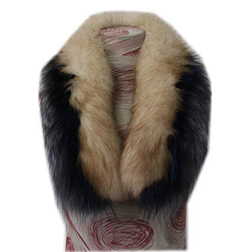- Gegefur Women's Real raccoon Fox Fur Winter Collar Scarf (90cm, silver blue+blue+white)