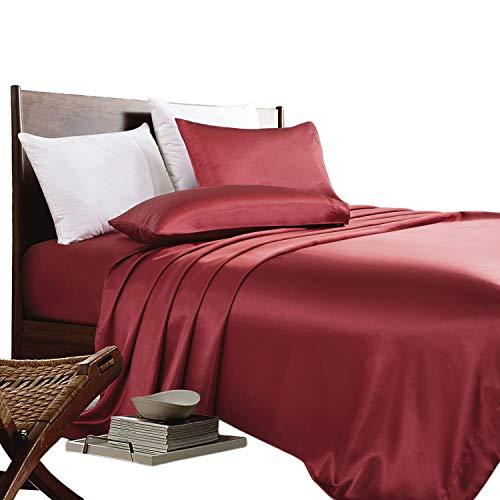 ARTALL Silky Super Soft 4 Piece Deep Pocket Satin Sheet Set, Queen Size Red (Red Deep Bedding)
