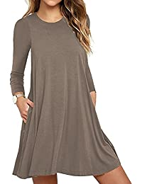 3ebd3eecd2d8 Women s Long Sleeve Pocket Casual Loose T-Shirt Dress
