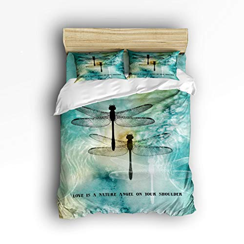 Trendier Twin Size 4 Piece Duvet Cover Set Boys Girls,Quote Love is A Nature Angel on Your Shoulder Dragonfly Printed Bedding Set Xmas,Include 1 Flat Sheet 1 Duvet Cover 2 ()