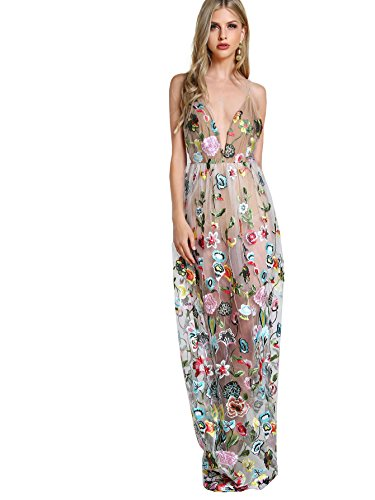 Embroidered Maxi - DIDK Women's Embroidered Mesh Overlay Bodysuit Maxi Dress White S