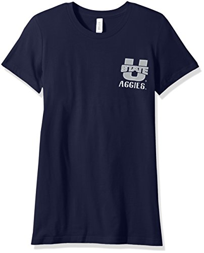 (NCAA Utah State Aggies Women's Double Pattern Scroll Favorite Short sleeve T-Shirt, X-Large,Navy)