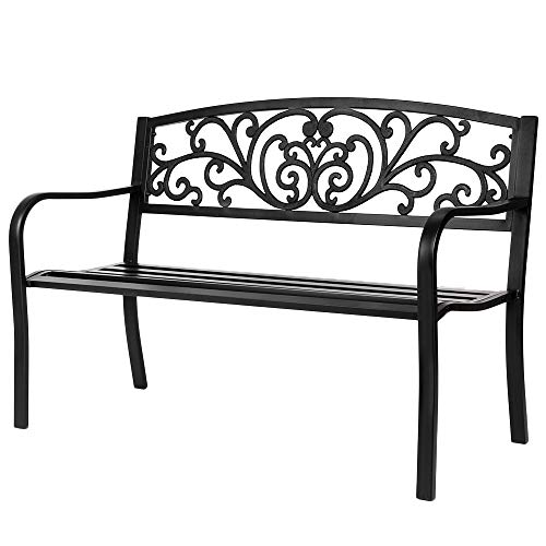 Goujxcy Outdoor Benches,50″ Iron Outdoor Courtyard Decoration Park Leisure Bench for for Patio, Garden, Yard w/Lattice Backrest and Seat, Flower Pattern – Steel & Cast Iron