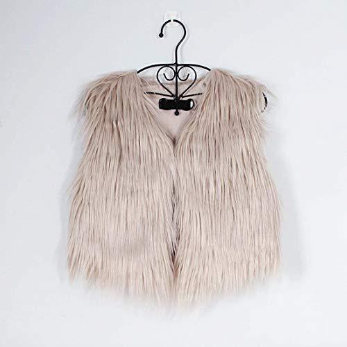 Art Automne Hiver Kaki Taille Gilet Veste cou Sans Elégante V Manteau Courte Couleur Grande En Unie Vêtements Manches Femme Branché Fourrure R80wX