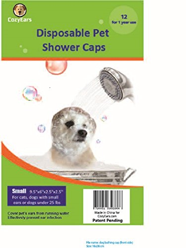 Disposable Pet Shower Caps, Dog, Cover, Protection Bath, Raining, Ear Infection Prevention, 12 Caps in a Pack ()
