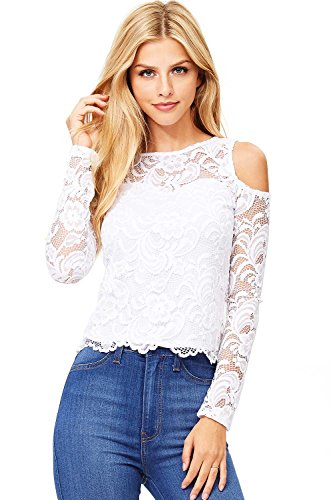 Ambiance Women's Juniors Long Sleeve Lacey Crop Top (M, White)
