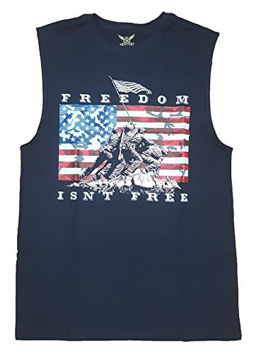 (Freedom Isn't Free Raising the Flag on Iwo Jima Navy Sleeveless Muscle Shirt - Small)