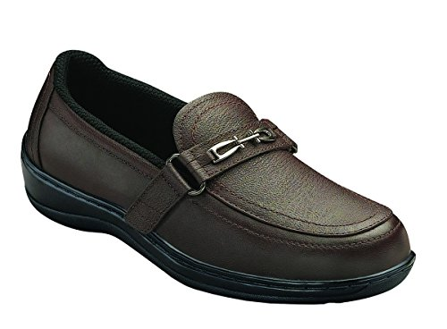 Orthofeet Chelsea Womens Two-Way Strap Slip-on Brown 6 Medium