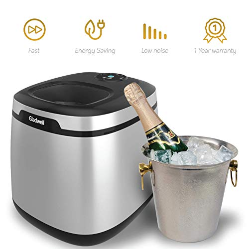 - Gladwell Countertop Ice Maker Machine - Portable Nugget Ice Cube Makers Makes 50 LB Of Ice Cubes Small/Regular Low Noise No Plumbing Easy To Clean Mini Machines - 1 Year Warranty - Silver