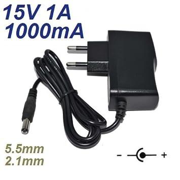 Cargador Corriente 15V 1A 1000mA 5.5mm 2.1mm 15W: Amazon.es ...