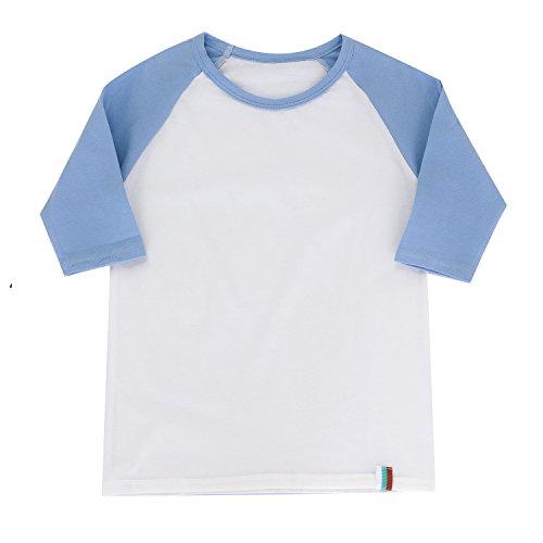 Boys Cotton Shirt Baseball T-Shirt for Boys Raglan Shirt 3/4 Sleeve Jersey Tee M Blue/White