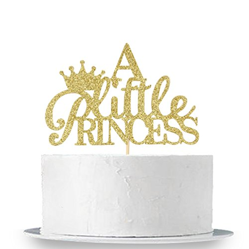 INNORU Gold Glitter A Little Princess Cake Topper, Gender Reveal Cake Topper, Baby Shower Party Decorations Supplies for Baby Girl -