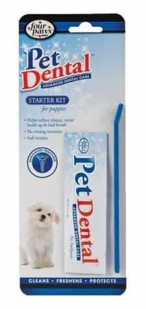 Four Paws Pet Dental Toothbrush & Toothpaste Kit for Puppies (Original -