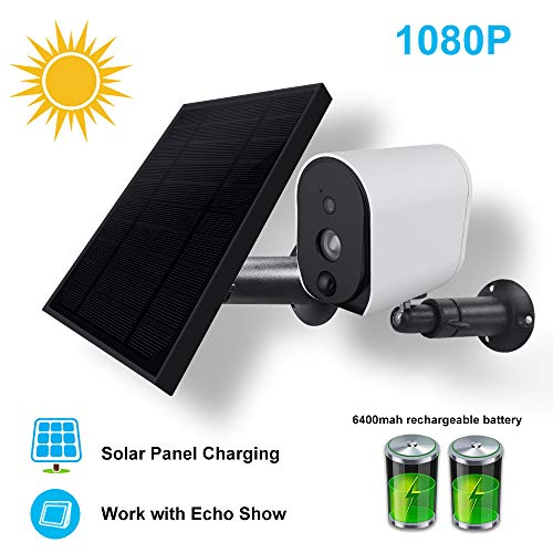 Solar Panel and Rechargeable Battery Powered Security Camera Wireless Wire Free 1080P Surveillance Camera,Outdoor Security Camera,Work with Alexa/Google Home,Cloud Storage,Real-time Motion Detection