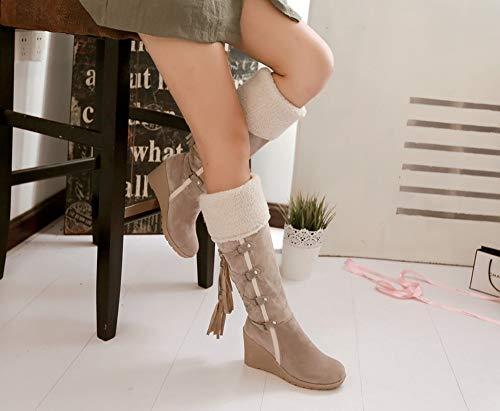 Marrone Nere Cachi Stivali 43 Alti Boots Stivaletti Da Neve Nappa 34 Plateau Con Zeppa Scamosciato Beige Donna Ginocchio Al 7cm Pelliccia Invernali qFqp4