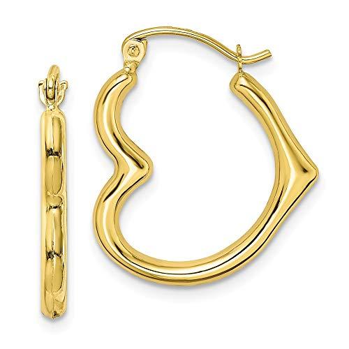 10k Yellow Gold Heart Shape Hoop Earrings Ear Hoops Set Love Fine Jewelry Gifts For Women For Her