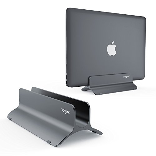 (VOGEK Vertical Laptop Stand, Macbook Holder Adjustable Size Desktop Space-saving Notebook Holder Compatible with Macbook Air/ Pro, Surface Pro, Samsung Notebooks and More (Space Grey))