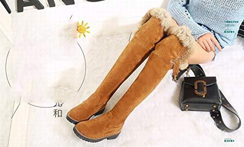 Tacón Mujer Invierno Luo E Bajo De Botas Cálidas 43 Otoño Amarillo botas 36 XpnXB8F