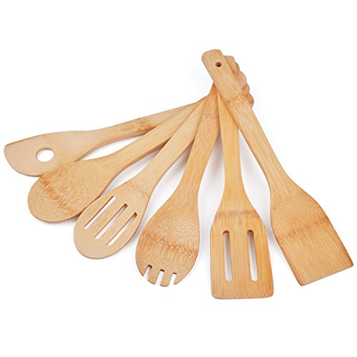 QL-ben Bamboo Utensil Set Cooking Spoons Set of 6 Bamboo Kitchen Tools Cooking Spatulas Set Perfect for Nonstick Pan Cookware Natural Tuners