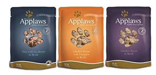 Applaws Grain Free Additive Free 100% Natural Food For Cats 3 Flavor Variety 6 Pouch Bundle: (2) Applaws Chicken Breast In Broth, (2) Applaws Tuna With Sea Bream In Broth, and (2) Applaws Chicken Breast With Pumpkin In Broth, 2.47 Oz. Ea. (6 Pouches Total)