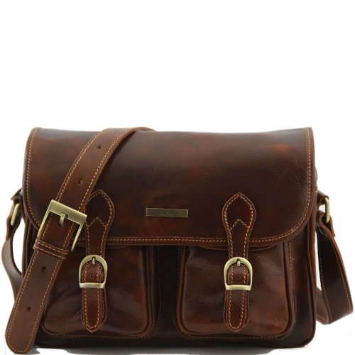 Tuscany Leather San Marino Travel leather bag with pockets on the front side Brown by Tuscany Leather
