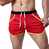 NUWFOR Men's Summer Fashion Simple Sports Fitness Shorts Home Beach Trousers(Red,US:S Waist27.6-31.5'')