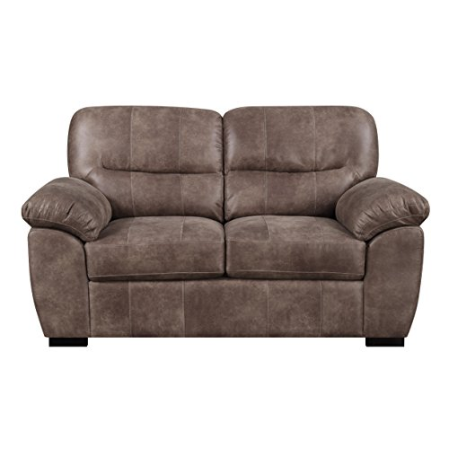 Loveseat With Faux Leather, Pillow Top Back, And Padded Arms Brown Leather Pillow Top Sofa