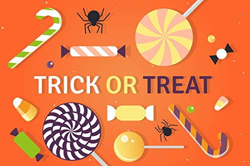 Baocicco 8x6.5ft Trick or Treat Backdrop Lollipops Cane Candy Spider Photography Background Halloween Party Decorations Children Candy Party Baby Boys Girls Portrait Photo Booth Props]()
