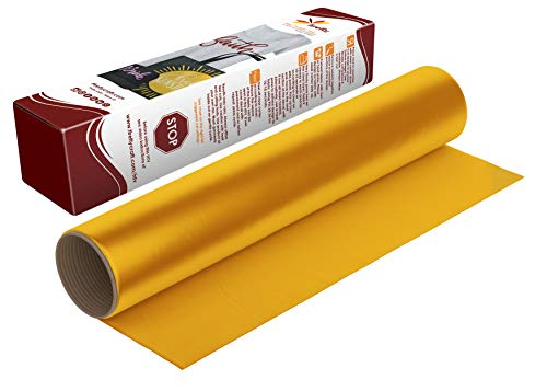 Firefly Craft Regular Deep Yellow Heat Transfer Vinyl Sheet | Deep Yellow HTV Vinyl | Deep Yellow Iron On Vinyl for Cricut and Silhouette | Heat Press Vinyl for Shirts - 12 x 20