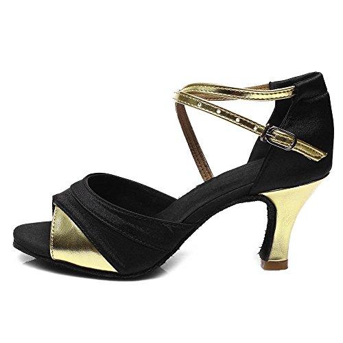 YFF Women's Ballroom Latin Tango Dance Shoes heeled Salsa Dancewear Gold 5cm RUAYPw