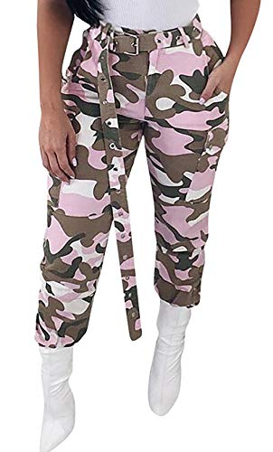 Pink Camouflage Pants - Voghtic Women's High Waisted Slim Fit Camoflage Camo Jogger Pants with Belt