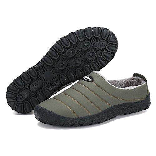 Hiver Hommes Chaussures Air Hibote Sur Neige Slip Fluffy Doublé Maison Pantoufles Basse Chaud Top Plein Étanche en Chaussure Femmes qSxxdE