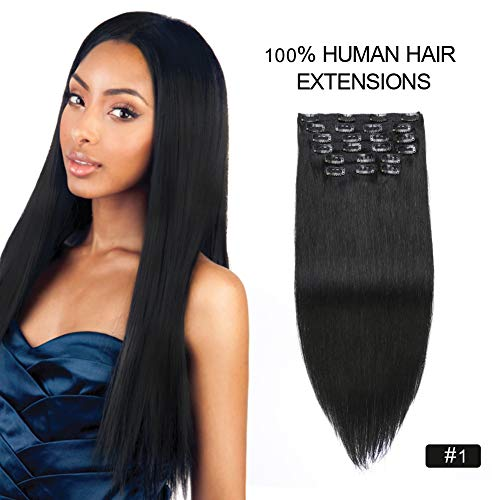 Clip in Human Hair Extensions for African American, Re4U 24inch Full Head Jet Black Clip in Hair Extensions 220grams Black Real Human Hair Extensions (24