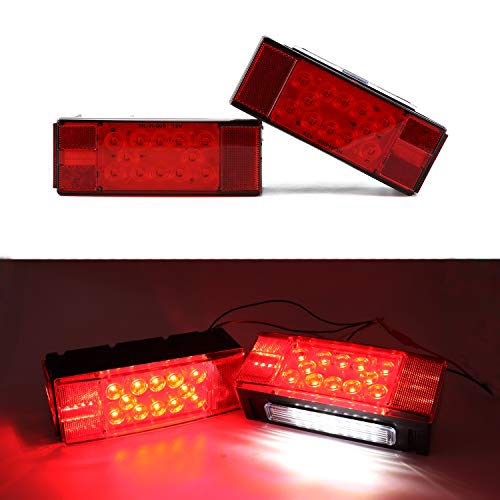 LivTee Super Bright 12V Waterproof Trailer Lights LED kit Brake Stop Tail License Lights for Camper Truck RV Boat Snowmobile, Red/White